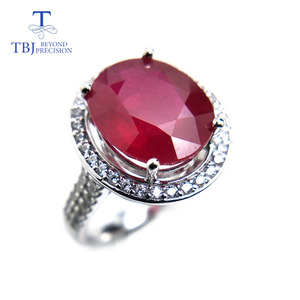 Image 3 - TBJ, elegancki pierścionek zaręczynowy z naturalny rubin w 925 sterling silver gemstone jewelr dla kobiet jako ślub walentynki, prezent