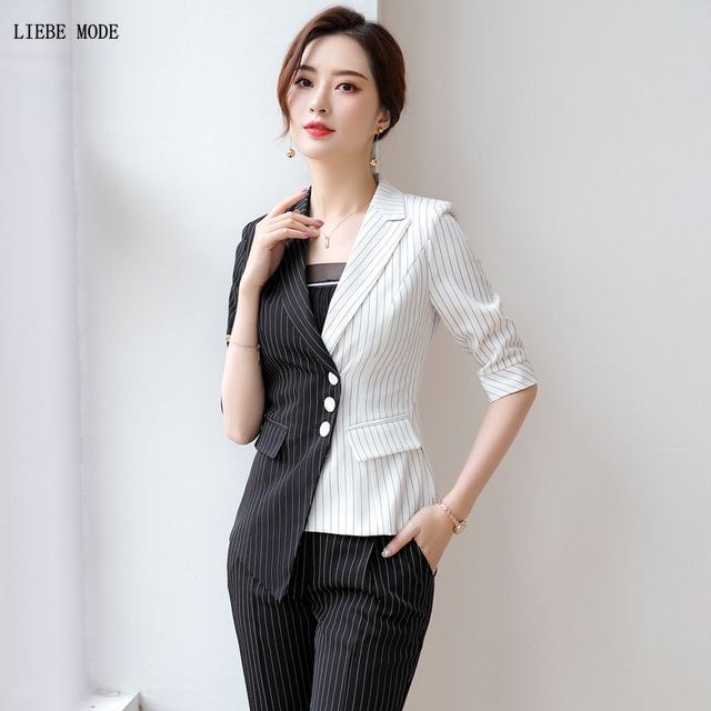 Black White Patchwork Ladies Pant Suits Plus Size Elegant Striped Womens Formal Pantsuits 2 Piece Sets Woman Blazer And Trouser