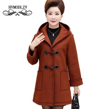 Plus size Middle - aged Women Autumn Winter Woolen Coat parkas 2017  New long Quality Wool Hooded female overcoat  5XL  LJ033