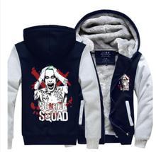 Suicide Squad джокер Харли Квинн Хэллоуин бэтмен руно сгущает зима толстовка с капюшоном Куртки косплей костюм пальто
