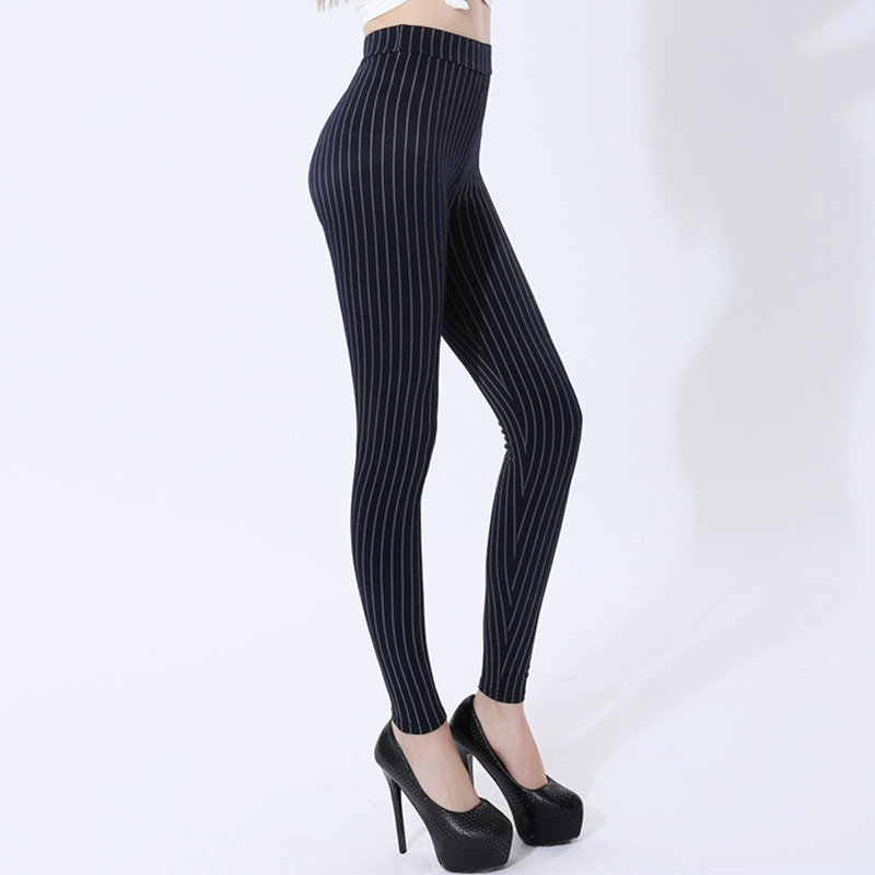 Ladies Striped Skinny Pants High Waist Workwear Woman Pants Casual Women Stretchy Autumn Black Plus Size XL-5XL Skinny Trousers
