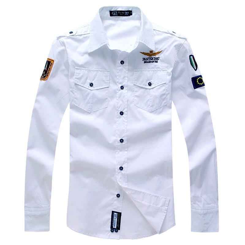 US $18 41 40% OFF|2019 New Men Air Force Shirts Fashion Brand Embroidery  Airforce Uniform Military Uniform Long Sleeve Shirt Camisa Masculina-in