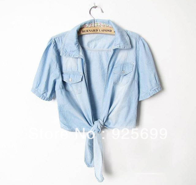 Freeshipping 2013 Summer Solid Blue Jeans Knot Tops Blouses Short Shirt Short Sleeves Fashion Lady Women Cotton Casual T shirt
