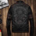 Men's Casual Bomber Jacket Genuine Leather Windbreaker Stand Collar Skulls Embroidery Moto Jacket OUTWEAR Coat