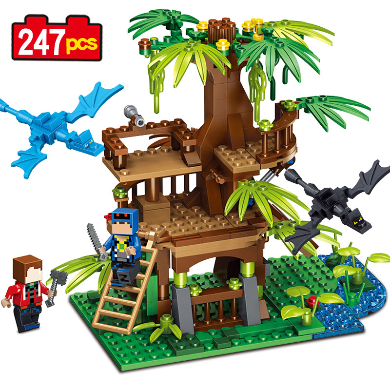 Lepin Tree House New 247 pcs My World Building Blocks Action Figures Christmas Gift Toys For kids Children magic tree house fact tracker 29 soccer