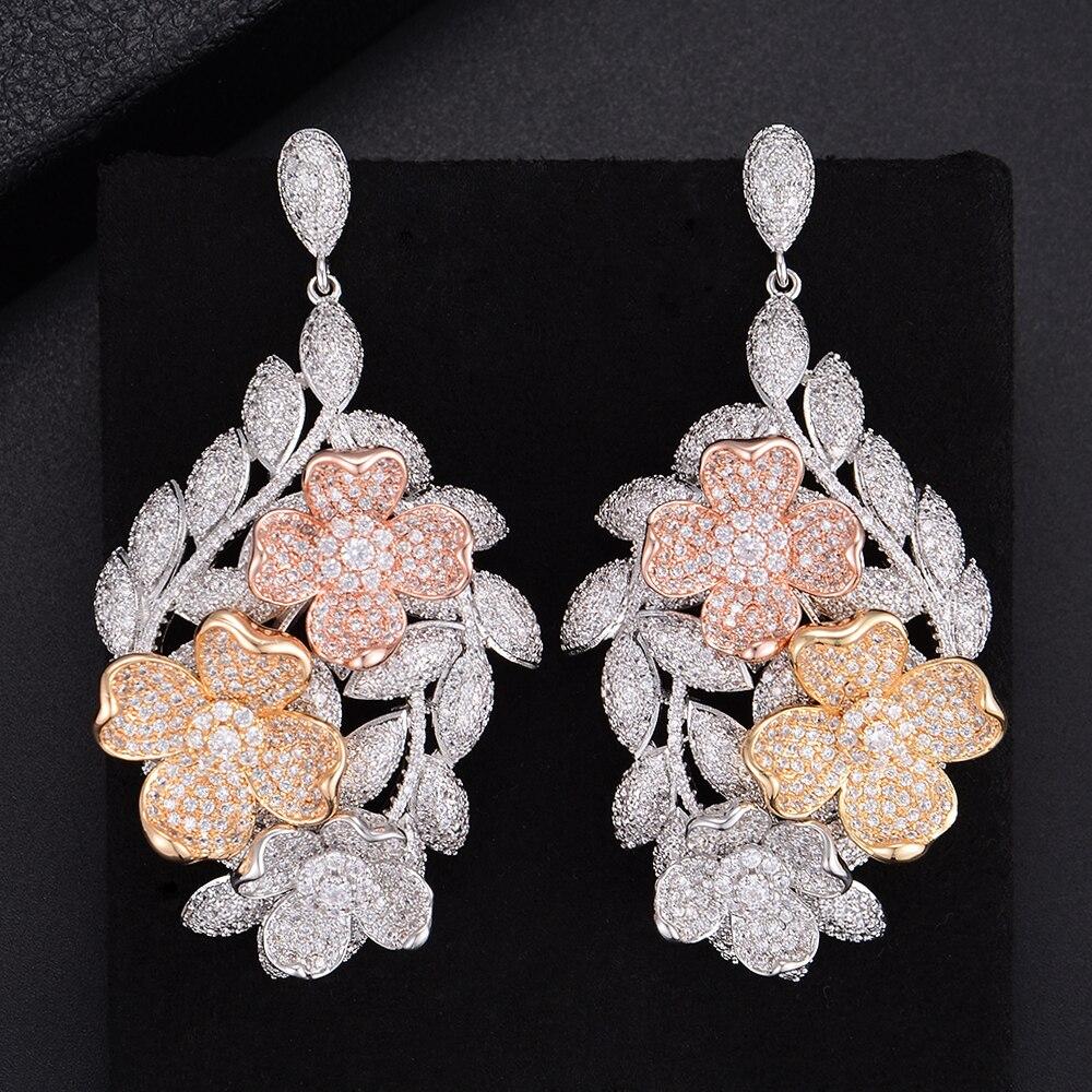 Fashion Jumbo Flower Shape Pierced Cubic Zirconia Wedding Bridal Pierced Party Dangle Earrings Long Drop Earrings long chain enamel bird shape drop earrings