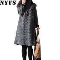 2016 Top Quality Thick Autumn Winter Dress Women Long Sleeve Vintage Plus Size Turtleneck Maternity T