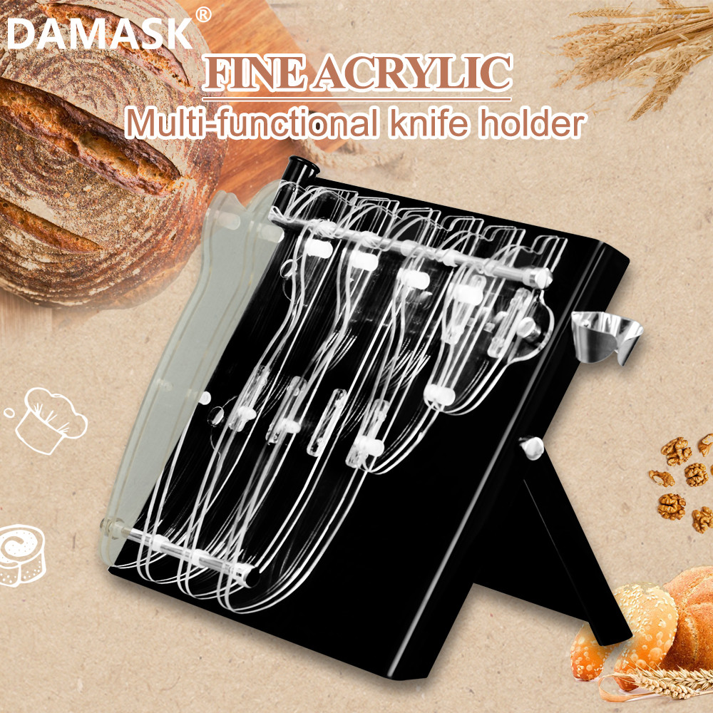 DAMASK Simple Design Kitchen Knife Holder Acrylic Stable Knife Set Stand 6 PCS Knife Block Suitable For Steel And Ceramic Knives