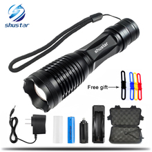 Big Promotion Ultra Bright LED flashlight 5 Modes 8000 LM XM-L T6 Torch Zoomable led flashlight with charger + battery +Box+Gift
