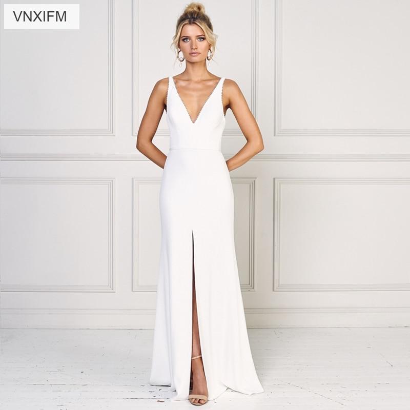 VNXIFM 2019 Vestido De Noiva  Bride Train Wedding Dresses Sexy Sleeveless Photography Wedding Gwons
