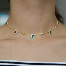 2018 new fashion jewelry green crystal CZ Choker necklace water drop round charm link chain trendy fashion necklaces