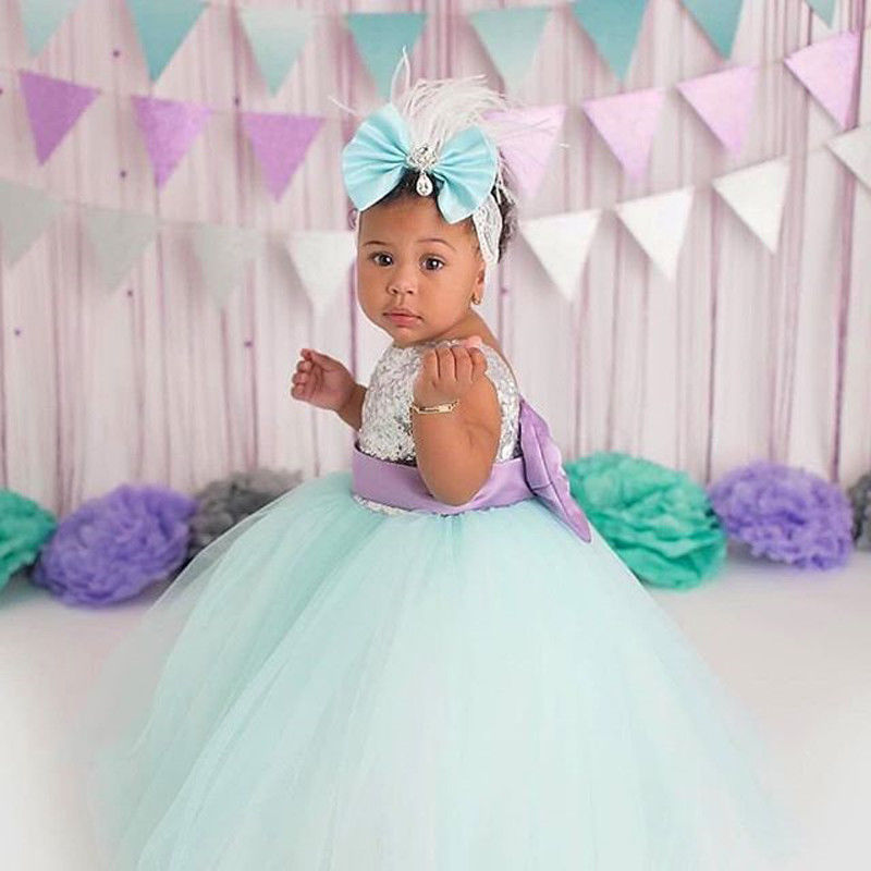 Pudcoco 2018 Princess Kids Baby Girls Sequins Tulle Sleeveless Dress Big Bow Tutu Party Wedding Dress Summer Girls Clothes