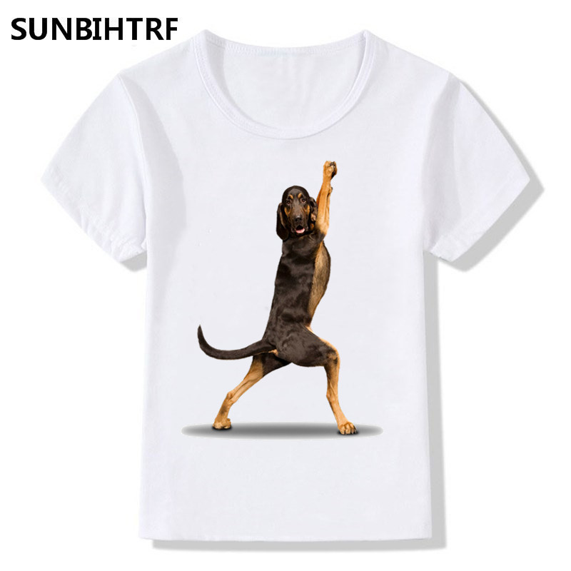 US $3 55 |2018 Kids Print Dogs Doing Yoga Funny T shirt Big Boy&Girl Kids  Summer Short Sleeve T shirt Tops Tee Casual Baby Clothes-in T-Shirts from