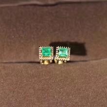 Верность натуральный 3 мм Изумруд Серьги гвоздики s925 серебро простой квадратный ювелирные изделия для женщин вечерние с натуральным зеленым драгоценным камнем