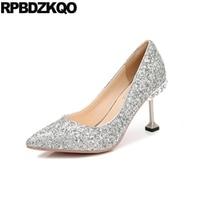 2017 Pointed Toe High Heels Ladies Rhinestone Silver Bling Wedding Glitter Stiletto Sparkling Size 4 34 Sequin Bridal Bride