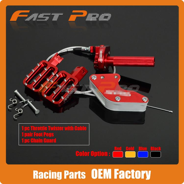 Billet Foot Pegs + Throttle + Cable + Chain Guide CRF50 XR50 70 90 110CC Chinese Made Dirt Pit Bike Motorcycle quelle my style 1004008