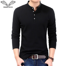 VISADA JAUNA 2017 New Style 긴 Sleeves Casual Men's 폴로을 Men's Solid 멋을 낼 풀 오버 Slim Fit Men 큰 size Shirts N6621(China)