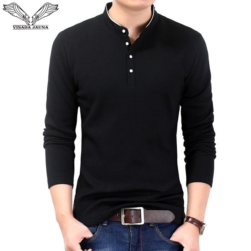 VISADA JAUNA 2017 New Style Long Sleeves Casual Men's   Polos   Men's Solid Fashionable Pullover Slim Fit Men Big Size Shirts N6621