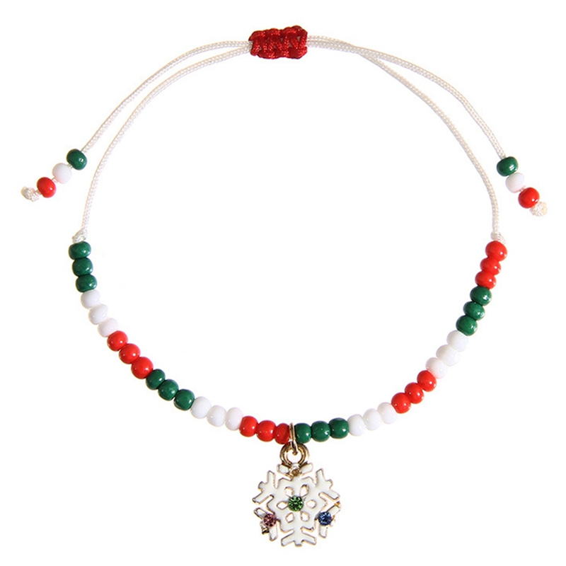 Christmas Gift For Adults Kids Santa Claus Snowman Tree Snowflake Charm Seed Bead Handmade Adjustable Bracelet