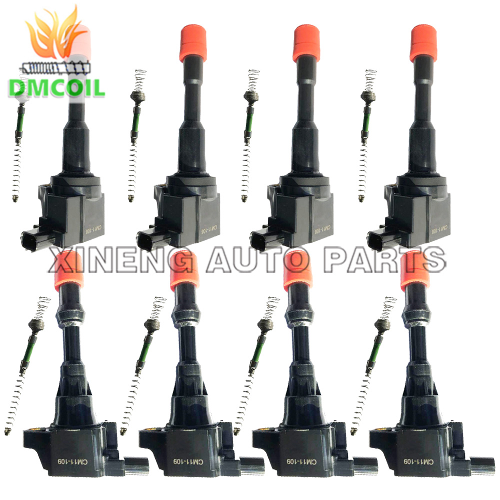 8 Pcs Front And Rear Row Ignition Coil With Resistance For Honda Civic Hybrid Jazz 1