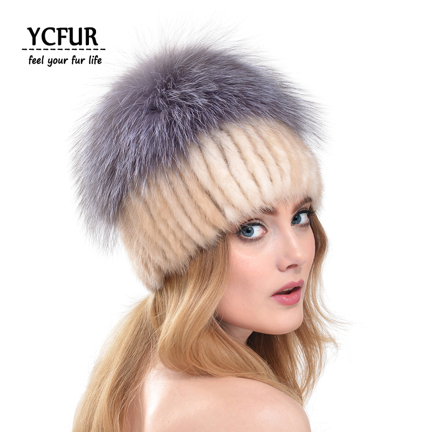 цены  YCFUR Fashion Women Beanies Hats Winter 2016 Hot Natural Mink Fur Hat Silver Fox Fur Top Trims Mink Fur Caps Winter YH181