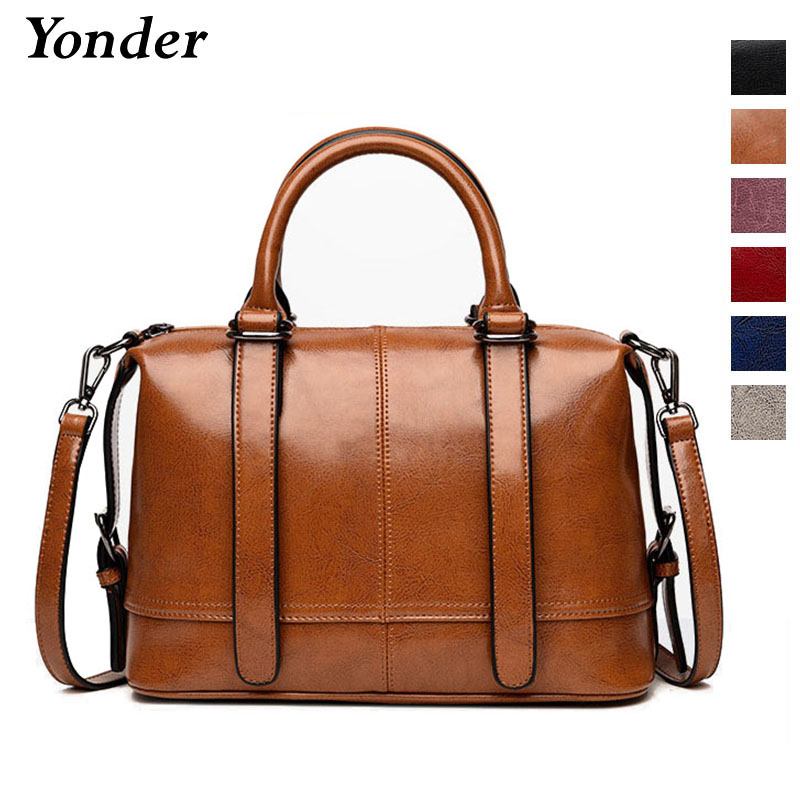Yonder women handbags genuine leather bag Boston large women shoulder bag female women crossbody bag black brown ladies tote brand designer large capacity ladies brown black beige casual tote shoulder bag handbags for women lady female bolsa feminina