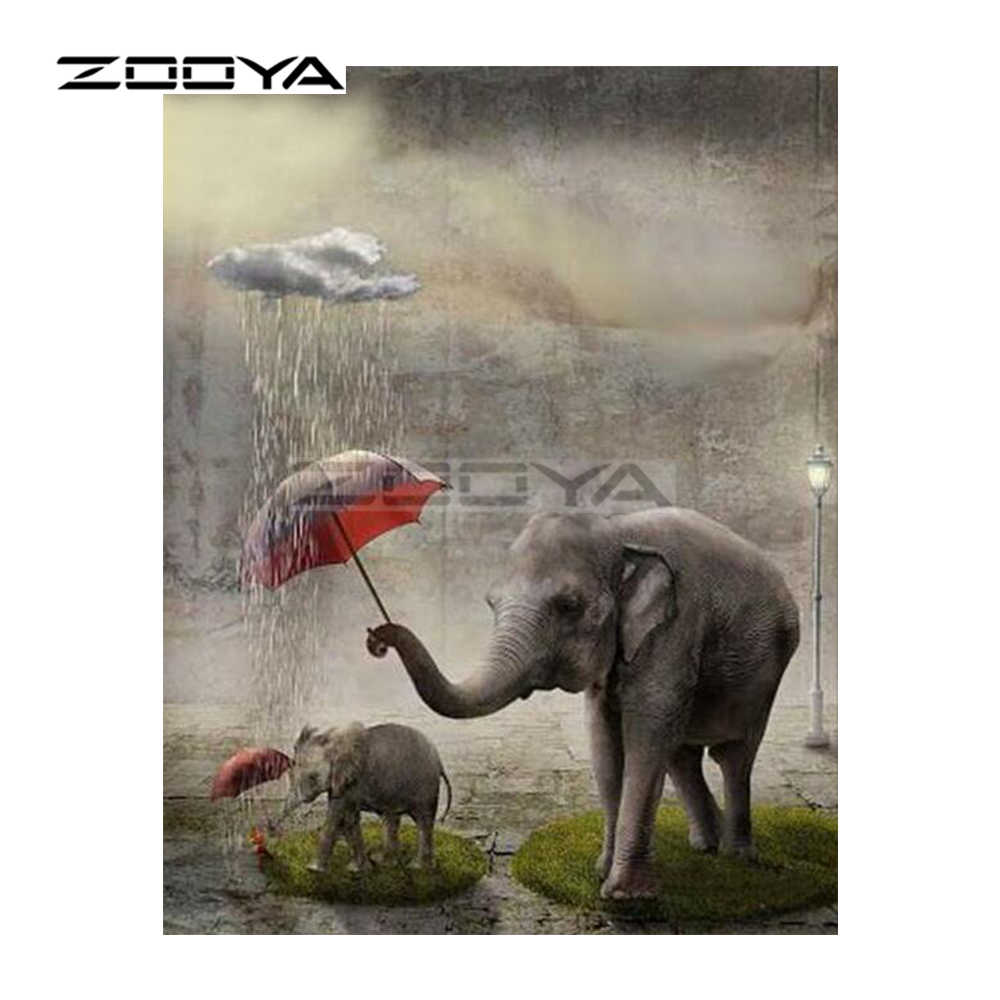 Zooya 5D DIY Diamond Bordir Hutan Gajah Ibu Anak Payung Diamond Lukisan Cross Stitch Square Mosaic Dekorasi BK746
