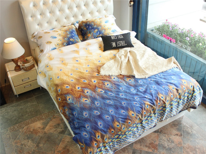2017 Peacock feather 100% Cotton King Queen Bedding Sets of Density Europe Fashion Deco Duvet Cover Bed sheet Pillowsham 4pc
