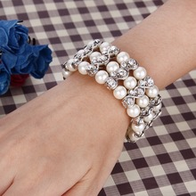Bella Elegant Elastic Infinity Bridal Tennis Bracelet Simulated Pearl Austrian Crystal Bracelet For Wedding Party Jewelry Gift