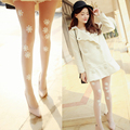 Fashion Lovely Women Embroidered Lace Pantyhose Bottoming Lady Stockings Pearls Diamond Decoration for female Sexy Tights