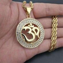 Hip Hop okrągły indyjski joga wisiorek z łańcuchem liny złoty kolor stal nierdzewna OHM hinduski buddyjski AUM OM naszyjniki indie biżuteria