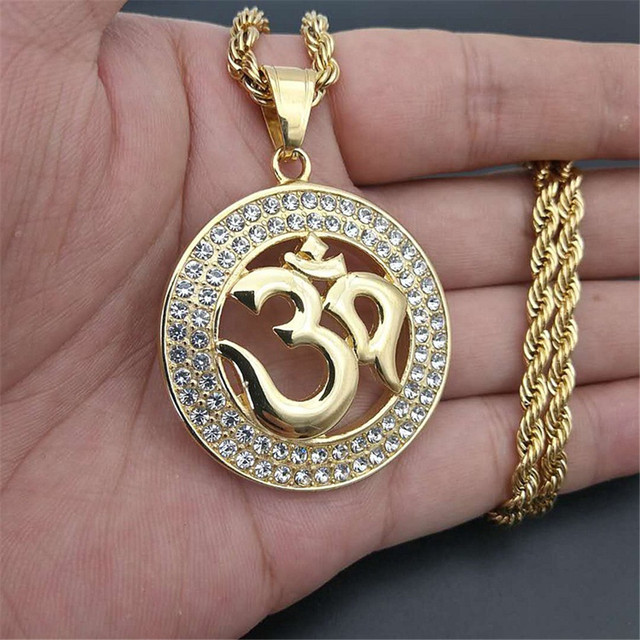 b50d3e1b5eb92 US $23.5 |Hip Hop Round Indian Yoga Pendant With Rope Chain Gold Color  Stainless Steel OHM Hindu Buddhist AUM OM Necklaces India Jewelry-in  Pendant ...