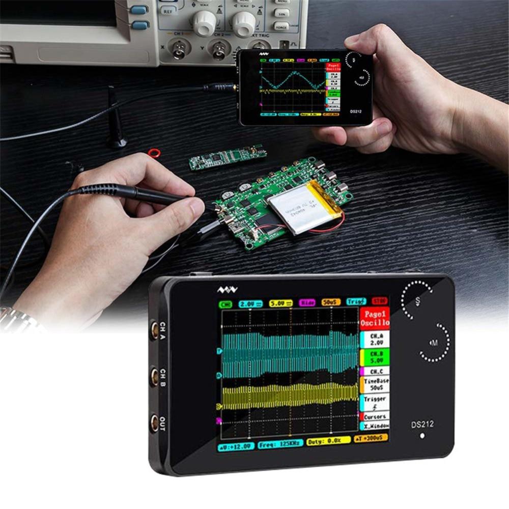 DS212 умный портативный ЖК-цифровой мультиметр осциллограф сенсорный экран USB интерфейс 1 МГц 8 Мб 10MSa/s муфта AC/DC Osciloscope