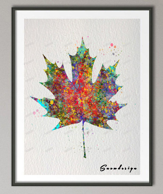 Original watercolor Maple leaf canvas painting Modern wall ...