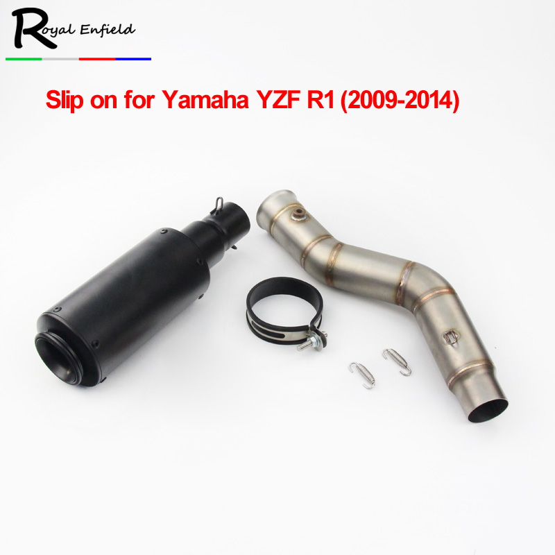 2018new Motorcycle Exhaust Full System Side Row Middle Link Pipe + Motorbike Carbon Fiber Muffler For YAMAHA R1 YZF-R1 2009-2014 new motorcycle exhaust full stystem mid link pipe motorbike laser marking muffler for ducati scrambler with muffler