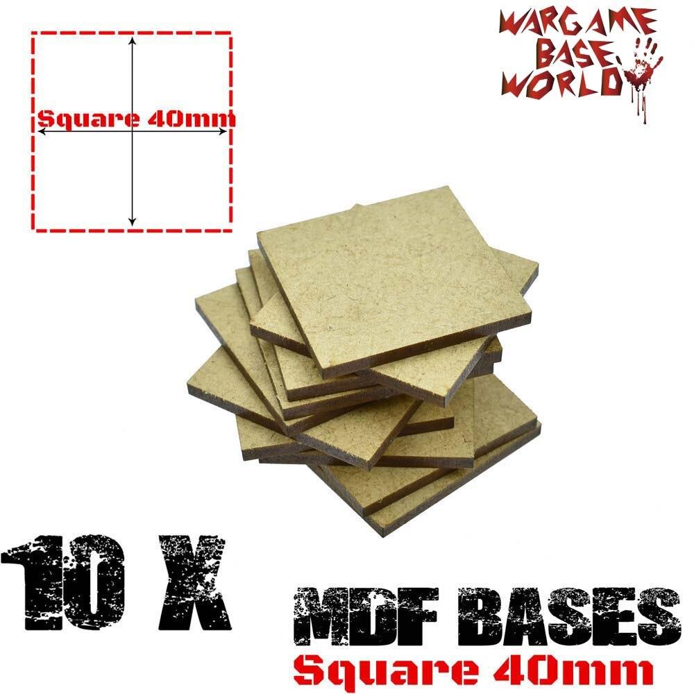 MDF Bases - 40mm Square Bases- Basing Laser Cut Wargames Wood