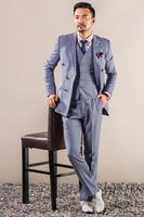 Grey Double Breasted Pinstriped Custom Men Suit 2018 Retro Wool Slim Fit 3 Piece Tailor Made Suit Men Casual Mens Clothes CD30