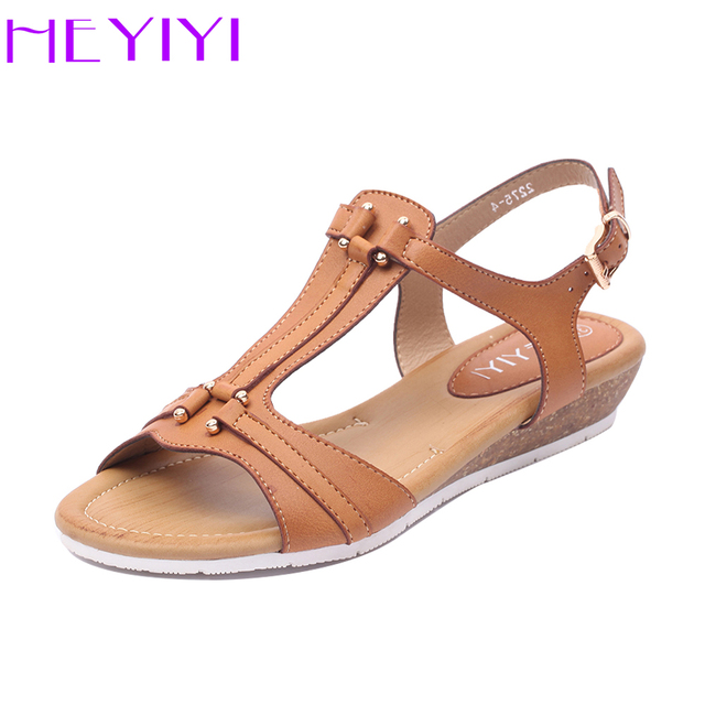 bd975194c HEYIYI Wedges Women Sandals Summer Flat Beach T-Strap Open Toes Buckle Soft  Insole Gladiator Large Size Beige Black Color Shoes