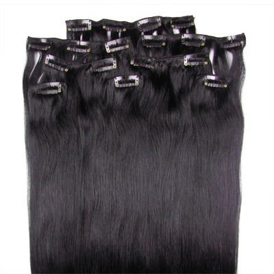 """16"""" 18"""" 20"""" 22"""" 24"""" 26"""" 8pcs remy human hair clip in extensions clip extensions #1B natural black 100g/set 2sets free shipping"""