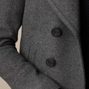 Image 5 - Men Short Coat Wool Blending Outerwear 2020 Spring Autumn Male Double Breasted Short Solid Plus Size Woolen coat