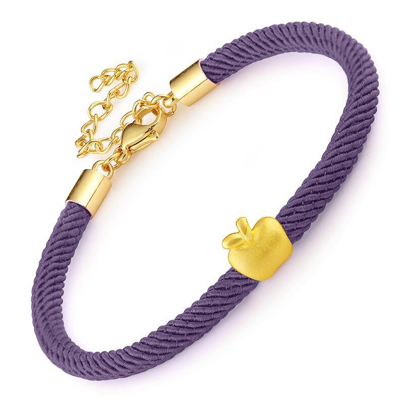 Здесь продается  Pure 24K Yellow gold Weaving String Bracelet With Apple Bracelet   Ювелирные изделия и часы