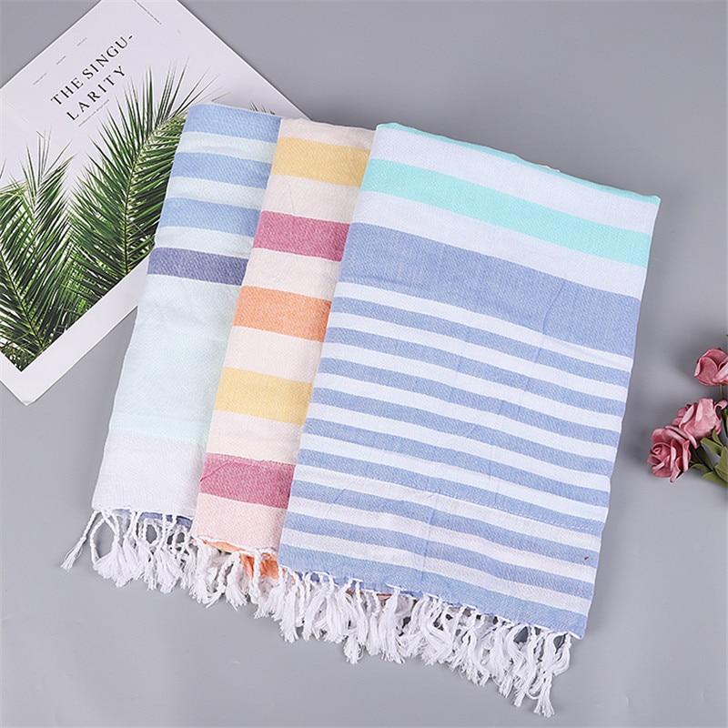 Two Layer Turkish Stripes Thin Bath Towel Beach Towels 100