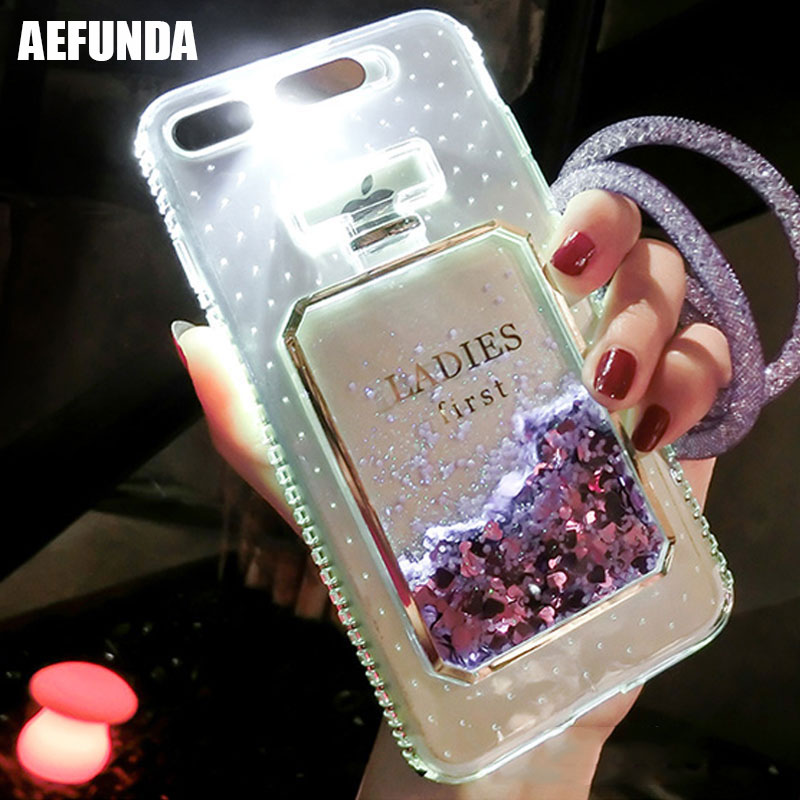 Luxury Bling Stars Dynamic Liquid Quicksand Clear Phone Case For iPhone 6 S 7 8 6S 7 Plus 5 5S SE Led Flash Light Up Girl Cover