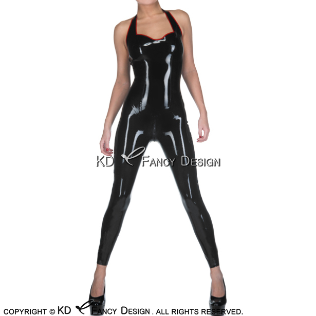 993442c5c7fc5e Black With Red Halter Sexy Latex Catsuit With Back To Front Crotch Zipper  Rubber Bodysuit Zentai Overall Body Suit LTY-0235