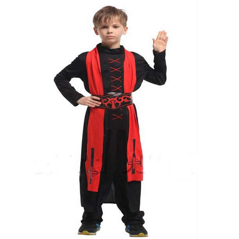Halloween Costumes Boy Performance Clothing Red And Black Wizard Magic Priest Magician Cosplay