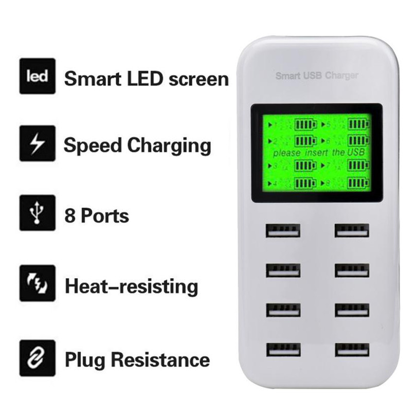 5V 2.1A US/EU 8ports USB Wall Charger Hub Smart Charging Dock LCD Display For Smartphone Tablets AC100-240V Mutil-port charger F(China)