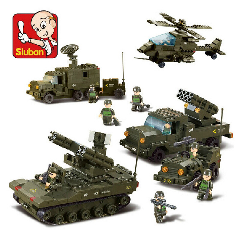 Sluban M38B7000 The Army Air Defense Artillery Building Blocks Set 3D Construction Brick Toys Educational Block toy for Children
