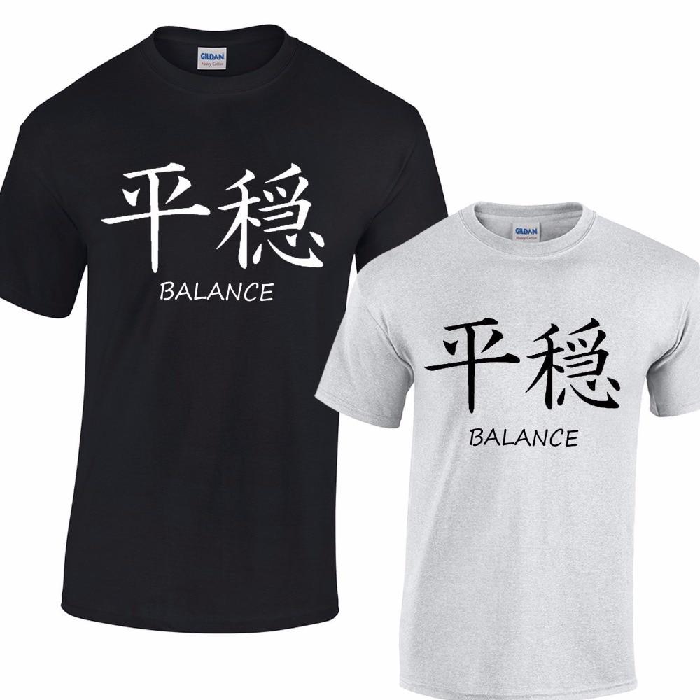 af28566c9743 For Men 2019 New Short Sleeve Cotton Casual create T-shirt BALANCE Japanese  Kanji Symbol Zen Harmony Yin Yang T shirt