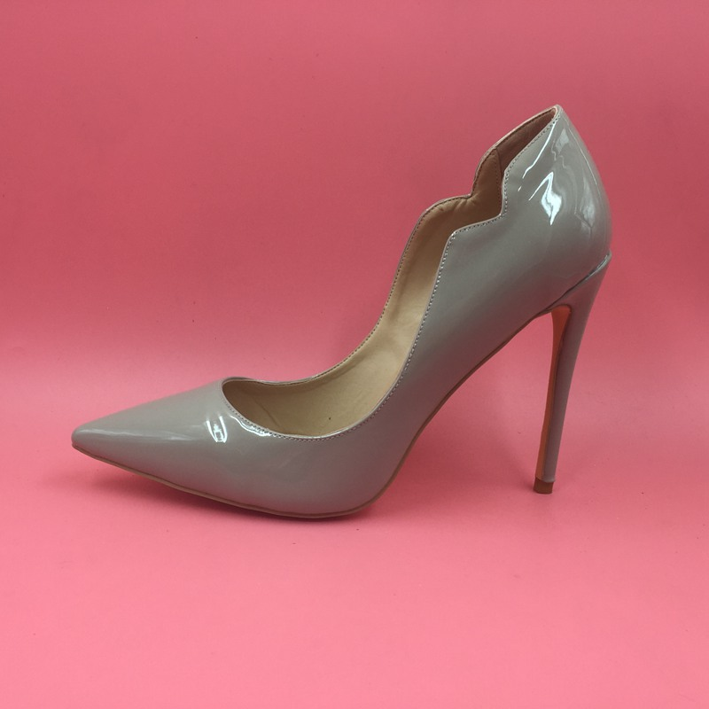 Grey Patent Leather Women Pumps Pointed Toe Shoes Ladies ...