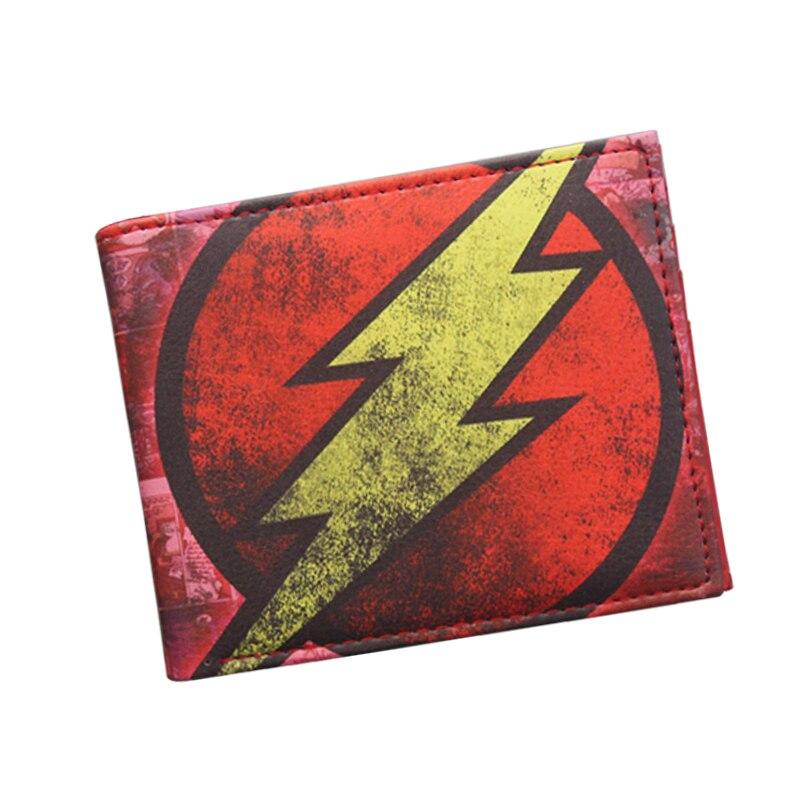 Original Brand Anime Wallet Avengers MB The Flash Lightning Man Wallet Leather Short Bifold Dollar Bag Vintage Comics Wallet Boy marvel comics leather character bifold wallet dft 1823
